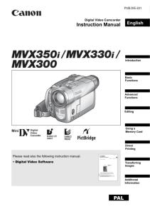 Canon MVX350i / MVX330i / MVX300 instruction manual (reprint)