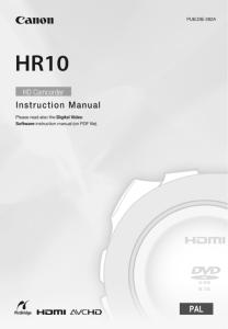 Canon HR10 instruction manual (reprint)