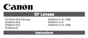 Canon EF 28mm f/2.8 instruction manual (reprint)