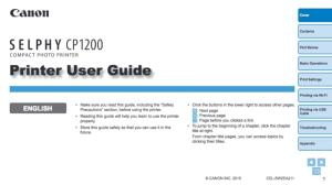 Canon CP1200 instruction manual (reprint)