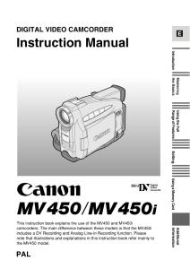 Canon MV450 / MV450i instruction manual (reprint)