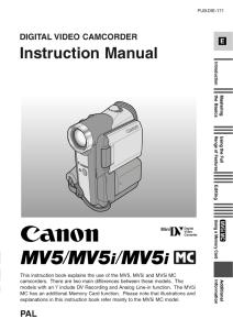 Canon MV5 / MV5i / MV5iMC instruction manual (reprint)