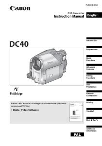 Canon DC40 Camcorder instruction manual (reprint)