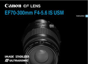 Canon EF 70-300mm f4-5.6 IS USM instruction manual (reprint)