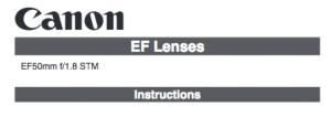 Canon EF 50mm f/1.8 STM instruction manual (reprint)