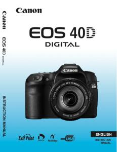 Canon EOS 40D instruction manual (reprint)